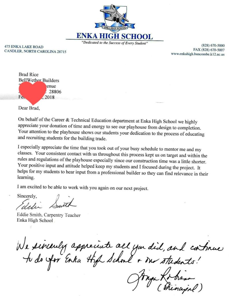 Letter From Enka High School In Western North Carolina  Bellwether